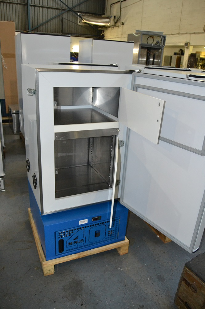 A completed Minus40 fridge on the factory floor